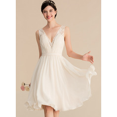 V-neck Knee-Length Chiffon Lace Wedding Dress With Ruffle (265256445)