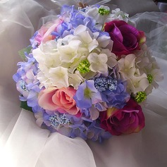 Simple And Elegant Free-Form Satin/Artificial Silk Bridal Bouquets - (123116149)