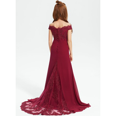 Trumpet/Mermaid Off-the-Shoulder Court Train Chiffon Lace Junior Bridesmaid Dress
