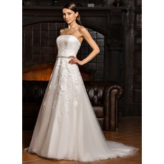 A-Line/Princess Strapless Sweep Train Tulle Lace Wedding Dress With Beading
