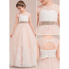 Ball Gown Floor-length Flower Girl Dress - Satin/Tulle/Lace Sleeveless Scoop Neck With Rhinestone