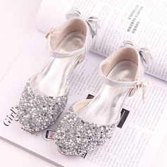 Girl's Round Toe Closed Toe Sparkling Glitter Low Heel Sandals Flower Girl Shoes