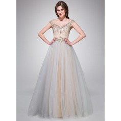 Ball-Gown Off-the-Shoulder Floor-Length Taffeta Tulle Prom Dresses With Beading Sequins