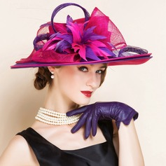 Ladies' Amazing Summer Cambric With Feather Bowler/Cloche Hat
