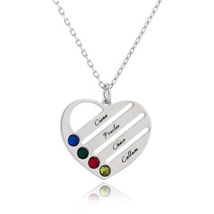 Custom Silver Engraving/Engraved Four Birthstone Necklace Family Necklace With Heart - Birthday Gifts Mother's Day Gifts (288229460)
