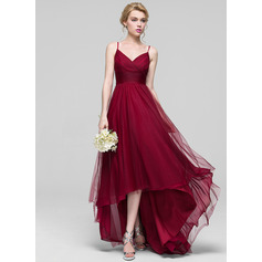 A-Line V-neck Asymmetrical Tulle Bridesmaid Dress