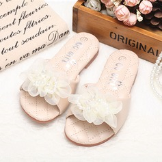 Girl's Peep Toe Slingback Leatherette Flat Heel Slippers Flower Girl Shoes With Imitation Pearl Satin Flower