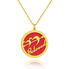 Custom 18k Gold Plated 3D Engraved Necklace Circle Necklace - Birthday Gifts Mother's Day Gifts