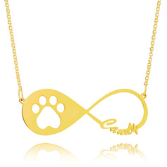 Custom 18k Gold Plated Silver Dog Paw Footprint Name Necklace Infinity Name Necklace - Birthday Gifts Mother's Day Gifts