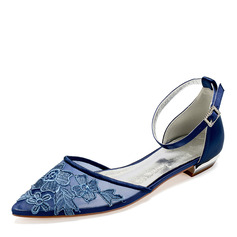 Women's Lace Silk Like Satin Flat Heel Flats Sandals With Satin Flower Flower (273235512)