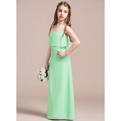 Scoop Neck Floor-Length Chiffon Junior Bridesmaid Dress With Bow(s) (268193385)