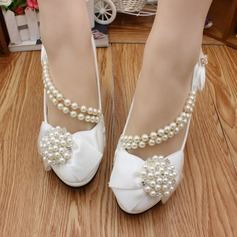 Women's Leatherette Stiletto Heel Closed Toe Pumps With Bowknot Imitation Pearl Applique