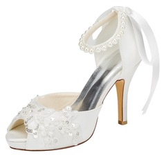 Women's Satin Stiletto Heel Peep Toe With Sequin Lace-up Pearl (047102449)