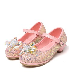 Girl's Round Toe Sparkling Glitter Low Heel Pumps Flower Girl Shoes With Rhinestone
