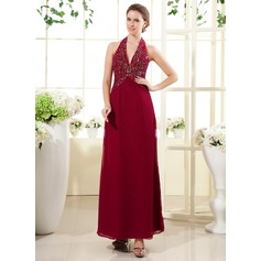A-Line/Princess Halter Ankle-Length Chiffon Mother of the Bride Dress With Beading Sequins