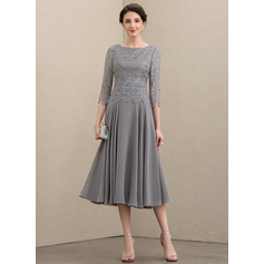 Scoop Neck Tea-Length Chiffon Lace Mother of the Bride Dress (267222105)