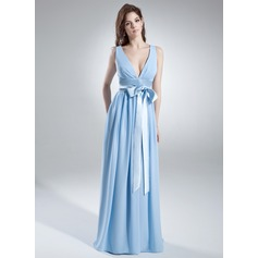 A-Line/Princess V-neck Floor-Length Chiffon Bridesmaid Dress With Ruffle Sash Bow(s)