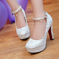 Women's Lace Sparkling Glitter Stiletto Heel Closed Toe Pumps With Buckle Rhinestone