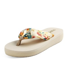 Women's Silk Like Satin Low Heel Sandals Platform Flip-Flops shoes