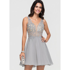 A-Line V-neck Short/Mini Chiffon Homecoming Dress With Beading (300244166)
