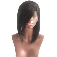 4A Non remy Straight Human Hair Lace Front Wigs 180g