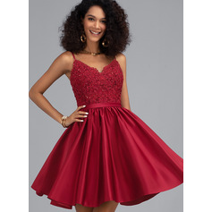 A-Line V-neck Short/Mini Satin Cocktail Dress With Beading Sequins