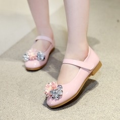 Girl's Leatherette Flat Heel Round Toe Flats With Rhinestone Velcro Flower