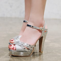 Women's Leatherette Chunky Heel Sandals Pumps Platform With Buckle shoes (087209072)
