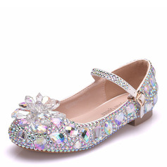 Girl's Round Toe Closed Toe Mary Jane Leatherette Flats With Buckle Crystal