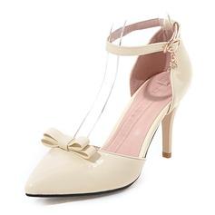 Frauen Kunstleder Stöckel Absatz Sandalen Absatzschuhe Geschlossene Zehe mit Strass Bowknot Schuhe