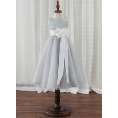 A-Line Tea-length Flower Girl Dress - Satin/Tulle Sleeveless Scoop Neck With Flower(s)
