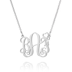 Custom Sterling Silver Monogram Necklace With Heart - Birthday Gifts Mother's Day Gifts