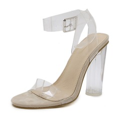 Women's PVC Chunky Heel Sandals Pumps Peep Toe Slingbacks With Buckle shoes