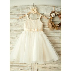 A-Line/Princess Knee-length Flower Girl Dress - Tulle/Lace Sleeveless Straps With Lace/Bow(s)