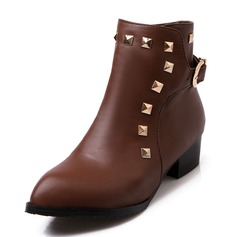 Women's Leatherette Low Heel Pumps Closed Toe Boots Ankle Boots Martin Boots Riding Boots With Rivet Buckle shoes