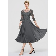 A-Line Scoop Neck Tea-Length Chiffon Cocktail Dress With Sequins (016197088)
