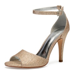 Women's Sparkling Glitter Stiletto Heel Peep Toe Pumps Sandals With Rhinestone Sequin Sparkling Glitter