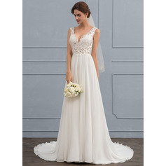 A-Line/Princess V-neck Court Train Chiffon Wedding Dress (002118434)
