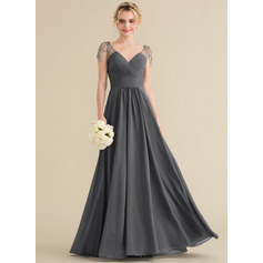 A-Line/Princess V-neck Floor-Length Chiffon Bridesmaid Dress With Ruffle Beading Sequins (007144737)