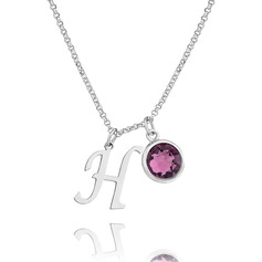 Custom Sterling Silver Birthstone Necklace Initial Necklace - Birthday Gifts Mother's Day Gifts