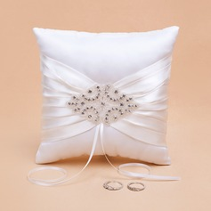 Elegant Ring Pillow in Satin With Rhinestones