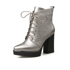 Women's Leatherette Chunky Heel Ankle Boots Martin Boots With Braided Strap shoes