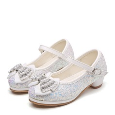 Girl's Closed Toe Sparkling Glitter Low Heel Pumps Flower Girl Shoes With Bowknot Rhinestone