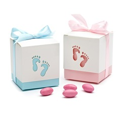 Feet Cut-out Cubic Favor Boxes With Ribbons
