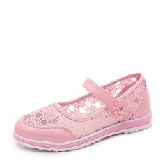 Girl's Mesh Flat Heel Closed Toe Flats With Velcro