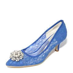 Women's Mesh Stiletto Heel Pumps With Imitation Pearl