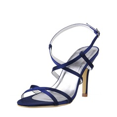 Women's Silk Stiletto Heel Peep Toe Pumps Sandals Slingbacks With Buckle