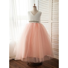 A-Line/Princess Ankle-length Flower Girl Dress - Satin/Tulle Sleeveless V-neck With Bow(s)/Rhinestone