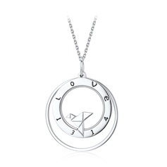 Personalized Unisex Chic 925 Sterling Silver With Round Engraved Necklaces Necklaces For Bride/For Couple