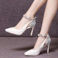 Women's Real Leather Stiletto Heel Closed Toe Pumps Beach Wedding Shoes With Sparkling Glitter Flower (047123342)